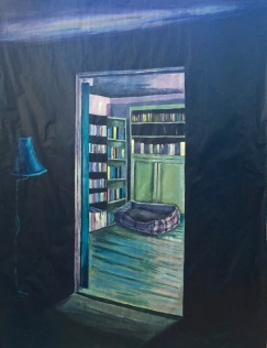 """Night Library (2017), Acrylic, gesso and colouring pencil on paper, 36x49"""""""