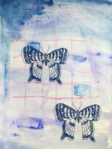 """Morning (Emblem - Concealment I) - monoprint, screen print on paper, 13x19"""""""