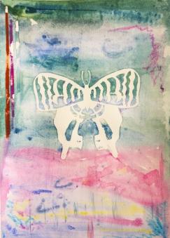 "Morning (Emblem - Spectre I), monoprint, screen print on paper, 13x18"""