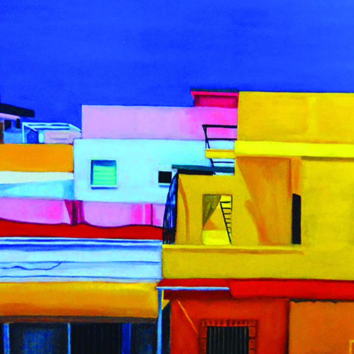 Oil and flashe on canvas, 24 x 36""